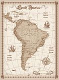 Vintage South America Map. Vector illustration of South America Map Royalty Free Stock Photos
