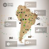 South America map vector, infographic design Royalty Free Stock Photos