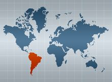 South America on map of the world. (selected by orange stock illustration
