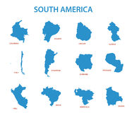 South america - maps of countries - vector Stock Images