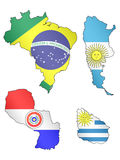South America Maps Flags 1 EPS 10 Stock Images