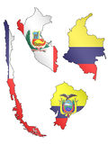 South America Maps with Flags 2 Stock Photos