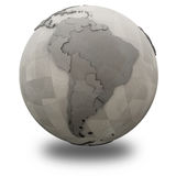 South America on metallic planet Earth Royalty Free Stock Image