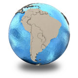 South America on model of planet Earth Royalty Free Stock Photos