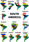 South America. Montage of the South American countries, each raised and highlighted with their nation's flag Royalty Free Stock Image