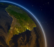 South America at night Royalty Free Stock Photo
