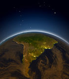 South America at night Royalty Free Stock Image