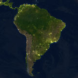 South America at night on planet Earth Stock Image