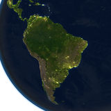 South America at night on planet Earth Stock Photo