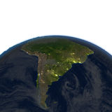 South America at night on planet Earth Stock Images
