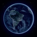 South America at night from space Stock Photos