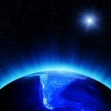 South America på natten royaltyfri illustrationer