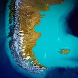 South America - Patagonia map. Elements of this image furnished by NASA. 3d rendering royalty free stock photography