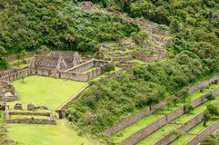 South America - Peru, Inca ruins of Choquequirao. Peru - Choquequirao lost ruins mini - Machu Picchu, remote, spectacular the Inca ruins near Cuzco stock photography
