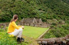 South America - Peru, Inca ruins of Choquequirao. Peru - Tourist on the Choquequirao lost ruins mini - Machu Picchu, remote, spectacular the Inca ruins near royalty free stock image