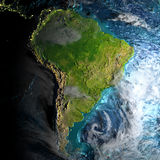 South America on physical map in the morning Royalty Free Stock Photo