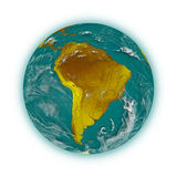 South America on planet Earth. South America on blue planet Earth isolated on white background. Elements of this image furnished by NASA vector illustration
