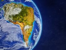 South America on planet Earth. With country borders and highly detailed planet surface and clouds. 3D illustration. Elements of this image furnished by NASA stock illustration