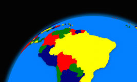South America on planet Earth political map. South America on planet Earth, political map Royalty Free Stock Photos