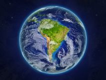 South America on planet Earth from space. South America from space on realistic model of planet Earth with very detailed planet surface and clouds. 3D royalty free illustration