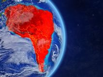 South America on planet planet Earth with country borders. Extremely detailed planet surface and clouds. 3D illustration. Elements. Of this image furnished by stock illustration