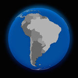 South America on political Earth Stock Photo