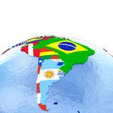 South America on political globe with flags Royalty Free Stock Photo