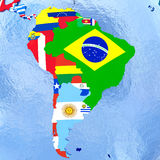 South America on political globe with flags Stock Photography