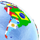South America on political globe with flags Royalty Free Stock Photos
