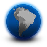 South America on political globe Royalty Free Stock Image