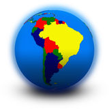 South America on political globe Royalty Free Stock Images