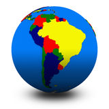 South America on political globe illustration Royalty Free Stock Photo