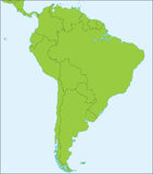 South America political map. Political map of South America with present states borders, detailed vector map Stock Photos