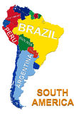 South America Political Map. Illustration of South America Political Map 3D Stock Photos