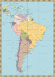 South America Political Map. Old colors Royalty Free Stock Images