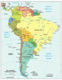 South America region political divisions map. Area geographical location map on the globe Royalty Free Stock Image