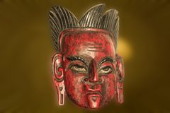 South America religious ceremony mask. Old South America religious ceremony mask made of the wood Stock Image