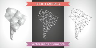 South America set of grey and silver mosaic 3d polygonal maps Royalty Free Stock Photography