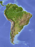 South America, shaded relief map. South America. Shaded relief map. Colored according to vegetation Royalty Free Stock Photography
