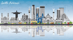 South America Skyline with Famous Landmarks and Reflections. Vector Illustration. Business Travel and Tourism Concept. Image for Presentation, Banner, Placard Stock Image
