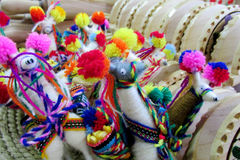 South America souvenir, wool lama figures Royalty Free Stock Photos