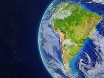 South America from space. On beautiful model of planet Earth with very detailed planet surface and clouds. 3D illustration. Elements of this image furnished by stock illustration