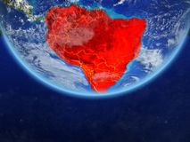 South America from space on Earth. South America on realistic model of planet Earth with country borders and very detailed planet surface and clouds. 3D stock illustration