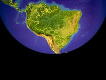 South America from space on Earth. South America from space. Beautifully detailed plastic planet surface with mountains and blue oceans with ripples. 3D vector illustration