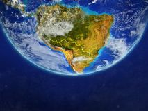 South America from space on model of planet Earth with country borders. Extremely fine detail of planet surface and clouds. 3D. Illustration. Elements of this vector illustration