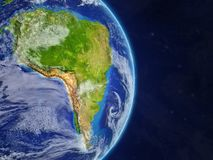 South America from space. On model of real planet Earth with highly detailed planet surface and clouds. 3D illustration. Elements of this image furnished by vector illustration