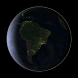 South America from space at night Royalty Free Stock Photo
