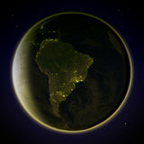 South America from space at night Royalty Free Stock Photography