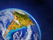 South America from space. Planet Earth with country borders and extremely high detail of planet surface and clouds. 3D illustration. Elements of this image vector illustration