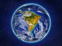 South America from space on realistic model of planet Earth with country borders and detailed planet surface and clouds. 3D. Illustration. Elements of this stock illustration